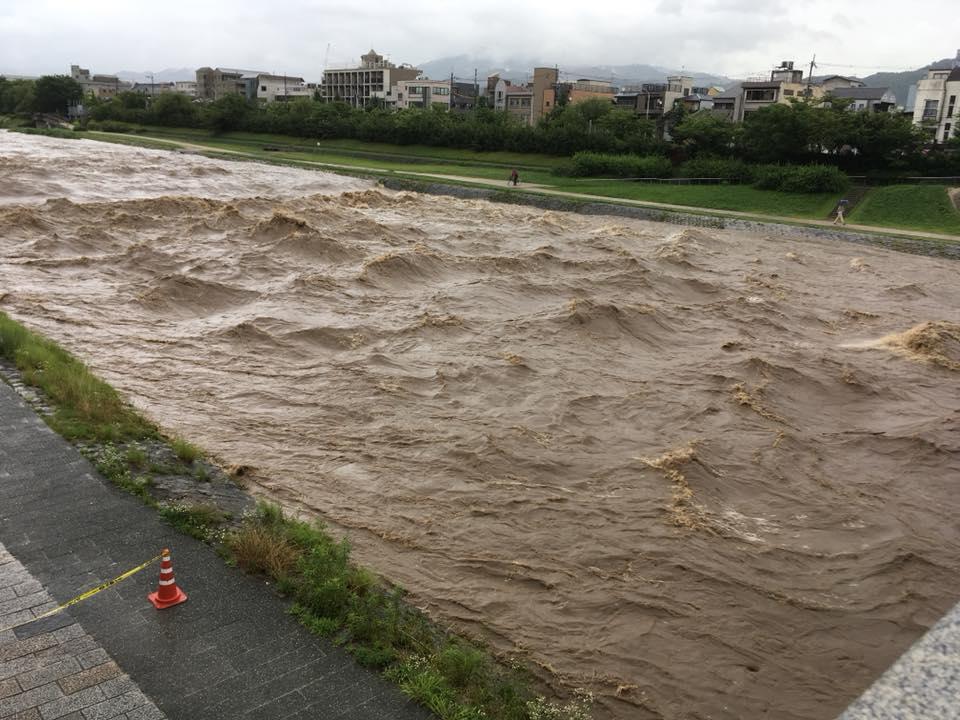 16時すぎの桂川と鴨川の状況。
