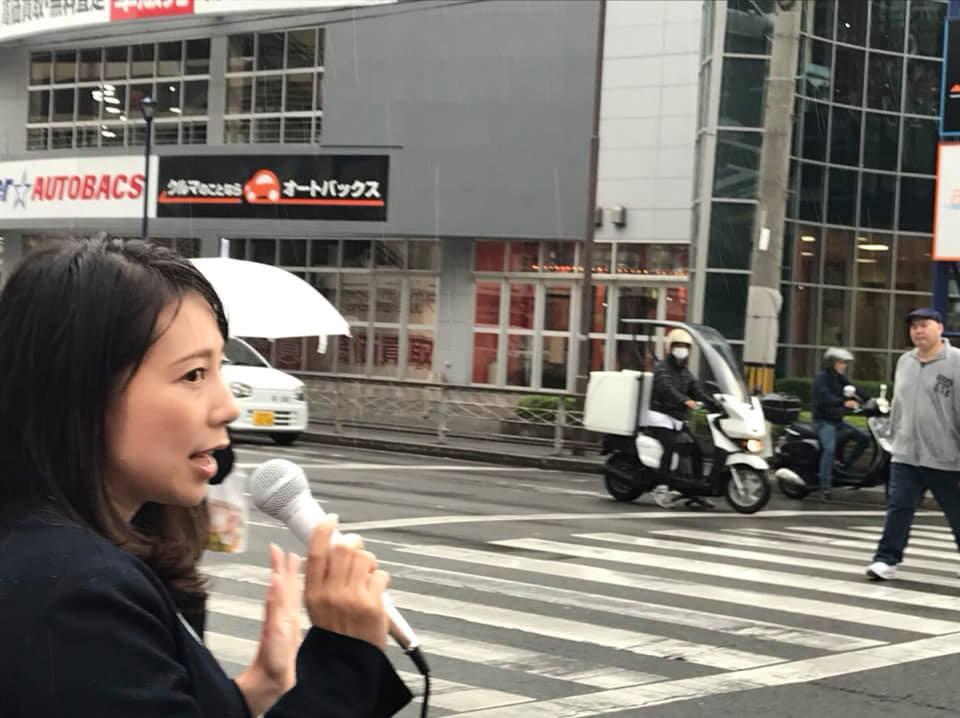 街頭演説 突然の雨・・・