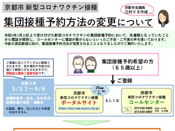 京都市 新型コロナワクチン接種の新たな予約方法について